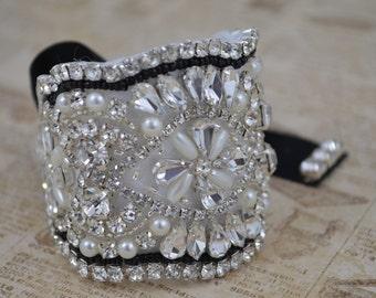 SALE - Wedding bracelet beaded on fabric, Black Seed Bead Bracelet.