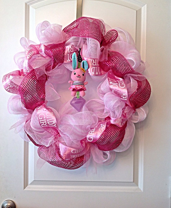 Items similar to pink baby girl wreath baby shower decor for Baby girl hospital door decoration