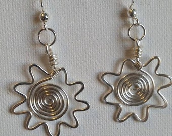 Sun earrings, sunburst earrings, drop earrings, wire wrapped, made in USA, hypo-allergenic