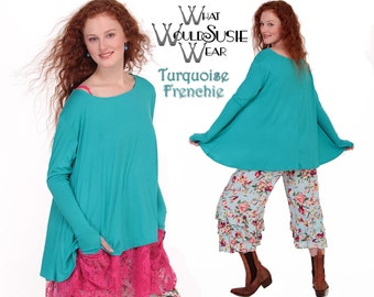 Turquoise Top/ Frenchie Swing Top/Thumb Holes/Long Sleeve Top-O/S