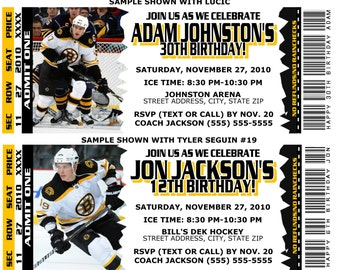 Printable Birthday Party Invitation Card Boston Bruins Birthday Ticket Invitation NHL Hockey Weddings Baby Showers Bar Mitzvahs