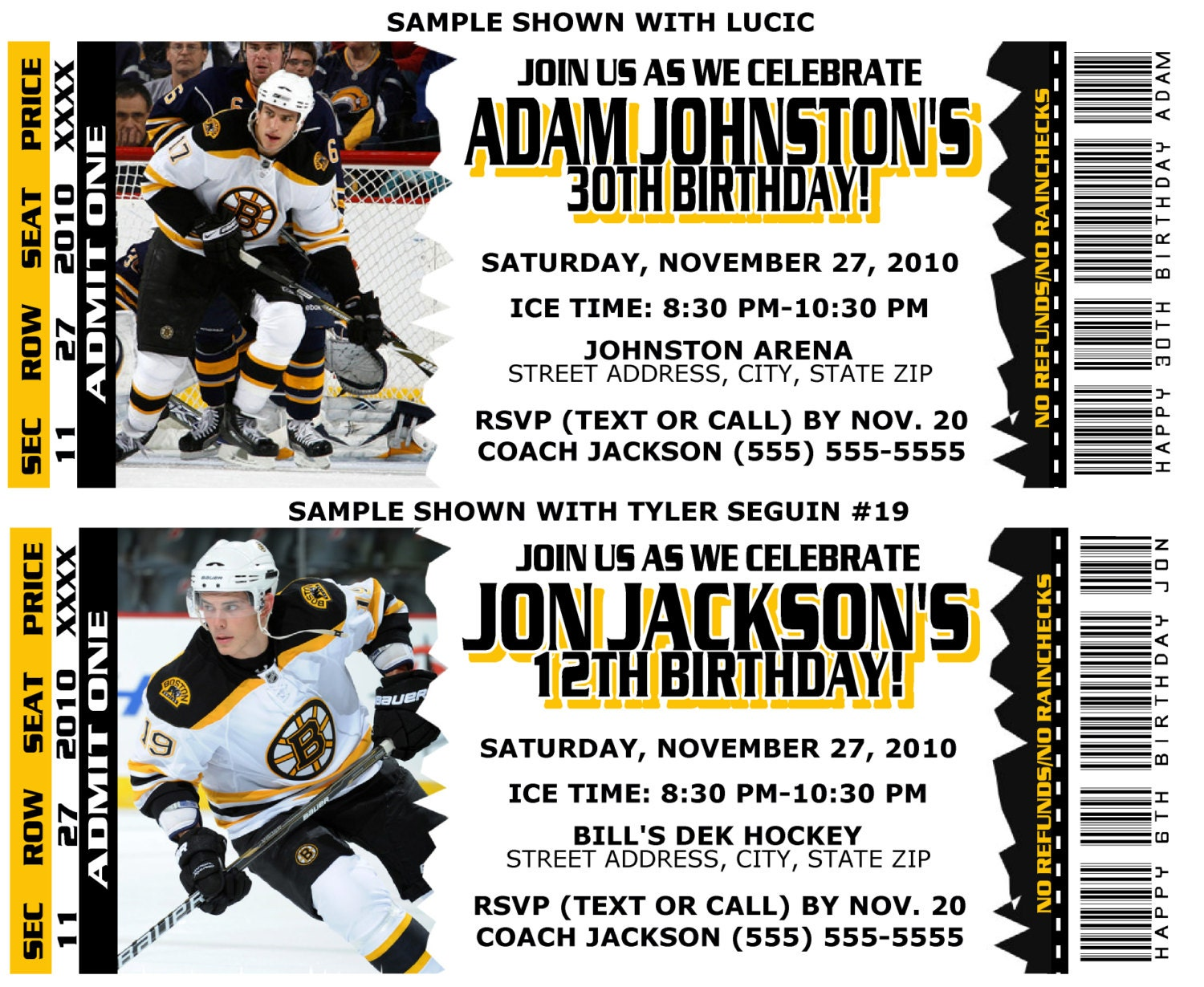 Printable Birthday Party Invitation Card Boston Bruins