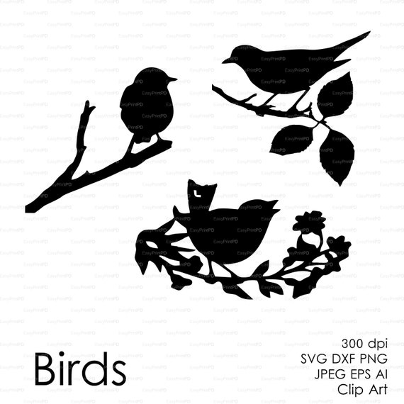 Three Birds On The Branch Eps Svg Dxf Ai Jpg Png By