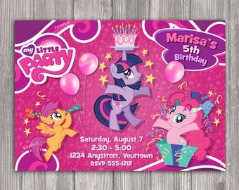 My Little Pony Invitation for Birthday Party - DIY Print Your Own Invite - Printable Digital File
