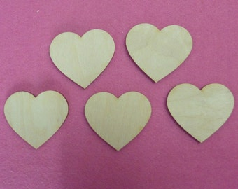 5 wooden heart 10 cm for easy crafting, name tag, birthdays, weddings and stable