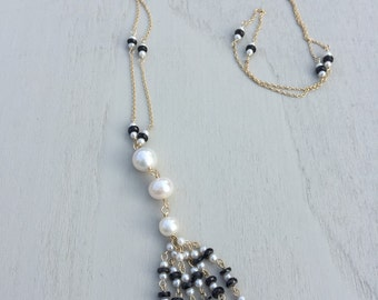 Black and White Cultured Pearl and Onxy Tassel Necklace