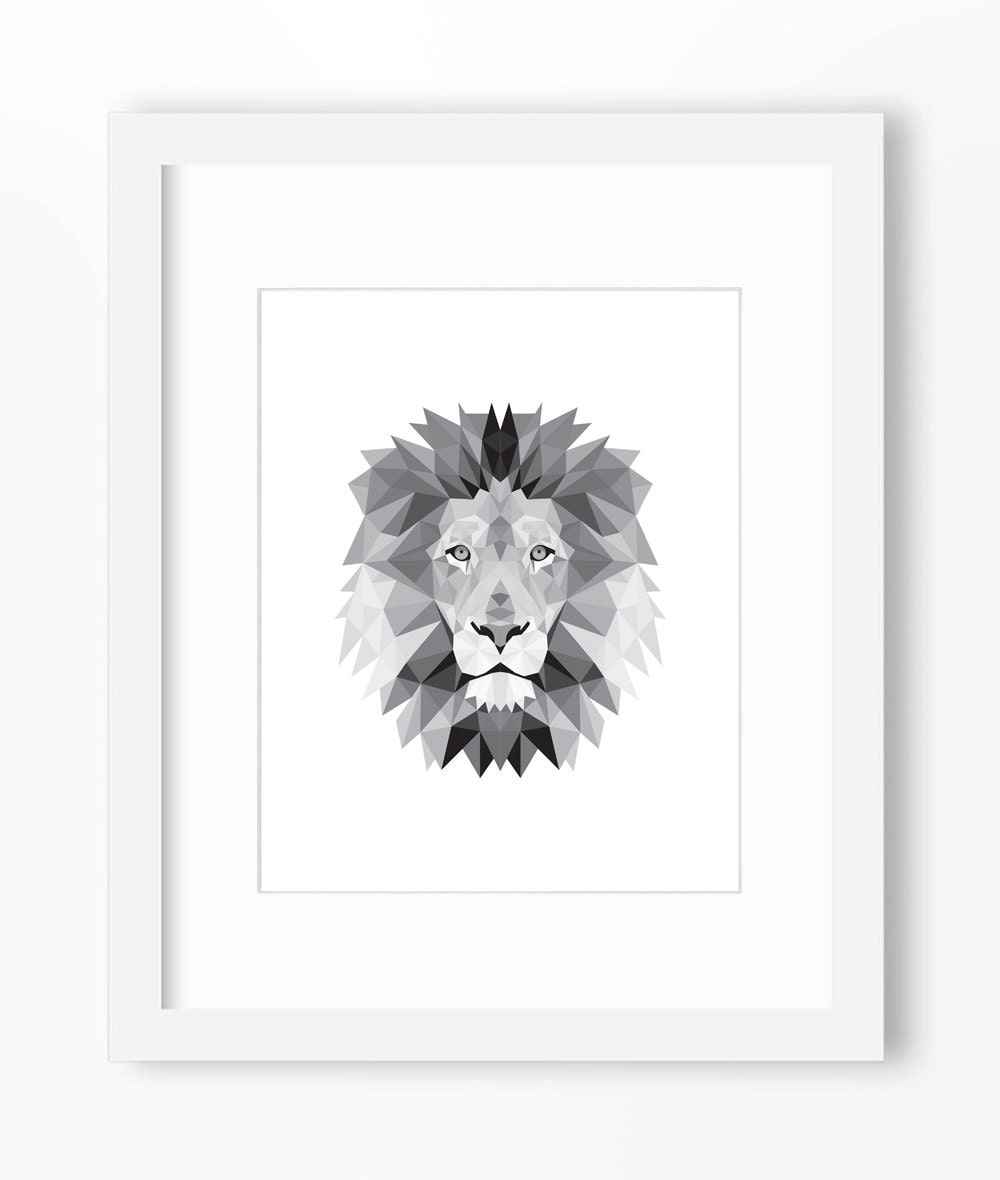 lion print lion art lion wall art geometric lion print