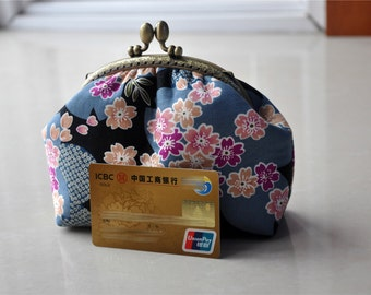 Japanese Cotton Clutch Kisslock Purse Handmade Wallet Metal Frame Bag