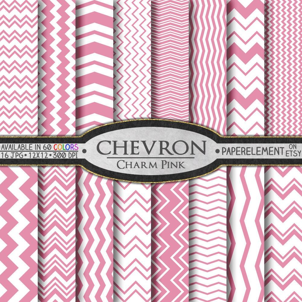 charm pink digital chevron paper pack instant