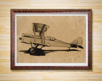 Vintage decor Aircraft poster Plane print