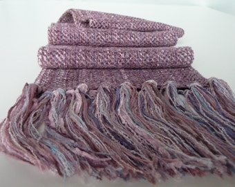 Handwoven Soft Chenille/ Pastel  Raspberry, Twill  Weave Scarf