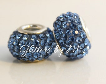 Light Blue Crystal Rhinestone Bead for European Style Charm Bracelets