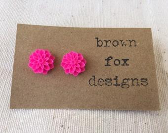 Hot pink resin dahlia flower stud earrings