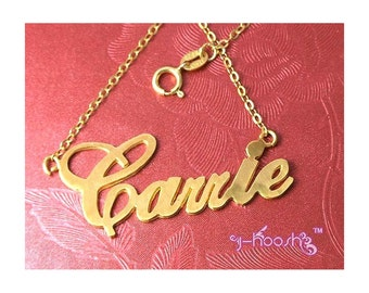 18K Gold Plated Over Sterling 925 Silver Carrie Name Necklace - Any Name Can Be Made