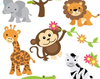 Baby Safari Clip Art, Digital, Instant Download