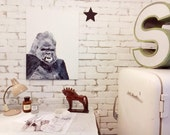 """23.6x31.5"""" Limited Edition Fine Art Hahnemühle canvas print of my original Gorilla oil painting with giclée technology"""
