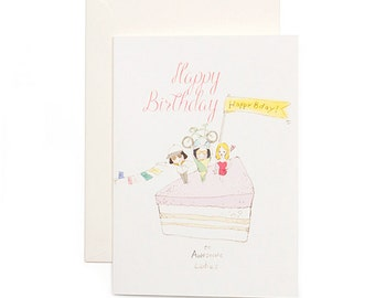 Birthday Card - Happy Birthday to Awesome Ladies
