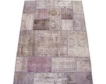 Overdyed Rug, Distressed Rug, Patchworok Rug, Lavender Rug, Over dyed Rug, Vintage Turkish Rug, Boho Rug/CUSTOM MADE