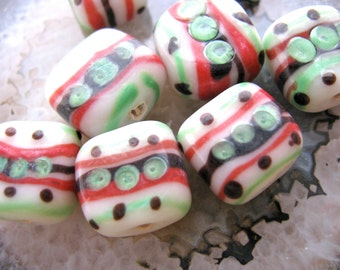 Glass beads, 4 beads, 13 to 15mm square, red, white, green and black  # 265