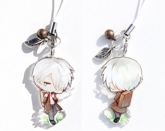 Ginko - Mushishi Hand-Drawn Double Sided Front & Back Anime Acrylic Charm with Phone Strap