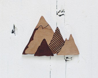 Mountain Brooch / Necklace - Laser cut from cherry wood