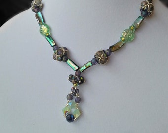 Abalone Crystal and Czech Glass beaded handmade necklace.