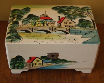 "Handpainted ""Lemai"" Vintage Japanese Musical Jewelry Box"