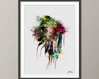 native american headdress art native american poster watercolor print  headdress watercolor poster print wall hanging painting  watercolor