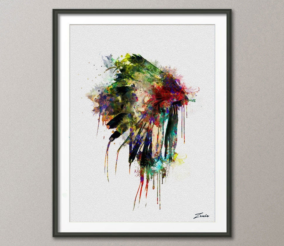 Co color art printing anchorage alaska - Native American Headdress Art Native American Poster Watercolor Print Headdress Watercolor Poster Print Wall Hanging Painting Watercolor