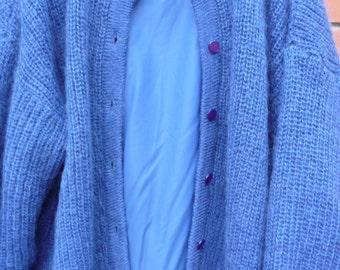 Vintage GLENALLAN SCOTLAND cardigan mohair blue SCOTTISH sweater  jacket