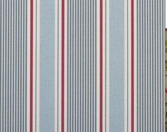 Clarke & Clarke Sail Stripe Marine Cotton Designer Curtain Fabric