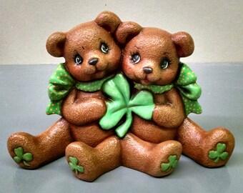 St. Patrick's Day Bears--Heirloom Quality--Hand-painted Ceramic--Holiday Figurine Decor--Seasonal Figurine Decor--Home Decor--Patio Decor