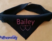 Personalised Dog Bandana with Linked Heart Print, Choice of Colours and Sizes