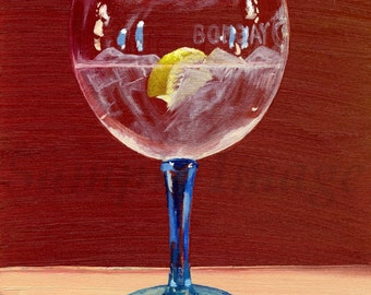 Posh Gin & Tonic  - Print of Original Still Life Realism Oil painting by Claire Strickland