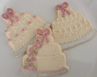 Wedding Cake Cookies, Anniversary Cookies - 1 dozen sugar cookies
