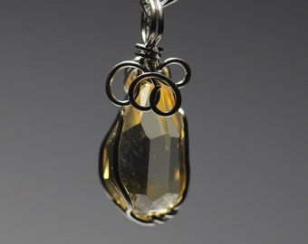 Yellow crystal pendant+ 925 Silver necklace  brother-stones 197