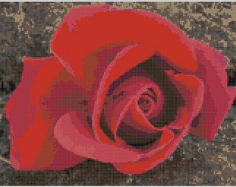 Detailed and Vibrant Red Rose Counted Cross Stitch Pattern for Instant Download