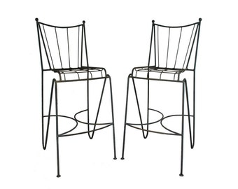 Pair of Vintage Mid Century Modern Wrought Iron Atomic Age Hairpin Leg Bar Stools Chair Frederic Weinberg Style