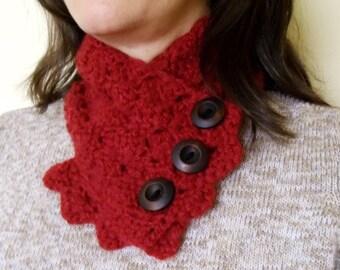 Neckwarmer - Cowl - Scarf - Buttons - Crochet
