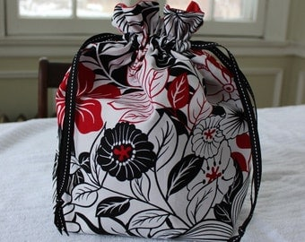Large Knitting/Crochet Project Drawstring Bag - Red and Black Flowers