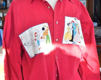 Red Man's Shirt Appliqued for a Woman