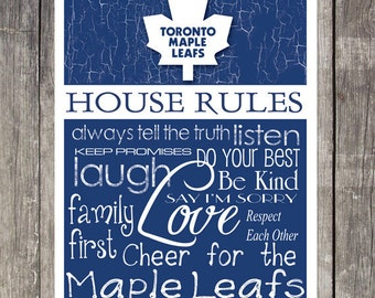 Toronto Maple Leafs House Rules 4 x 4. 1/2 Fridge Magnet