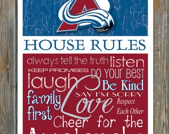 Colorado Avalanche House Rules 4 x 4. 1/2 Fridge Magnet