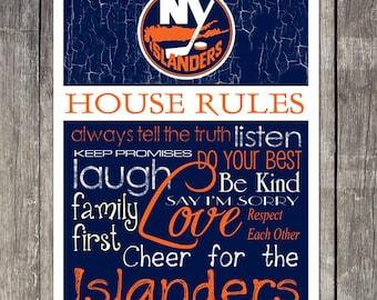 New York Islanders House Rules 4 x 4. 1/2 Fridge Magnet
