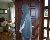 Grey Hooded Cape Sweater