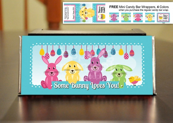 Bunny Easter Candy Bar Wrappers Printable Hershey Bar