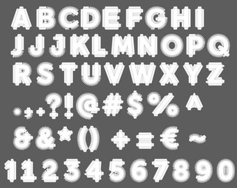 MASTER-SET (All Alphabet, Numbers, Punctuation) - 18'' 3D Cardboard Letter, Number and Punctuation Templates (Scalable Vector PDFs)