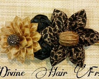 Black and Gold Great Gatsby headband, Shimmer headband, Flapper headband, baby girl hair accessory, photo prop, Adult headband, wedding band