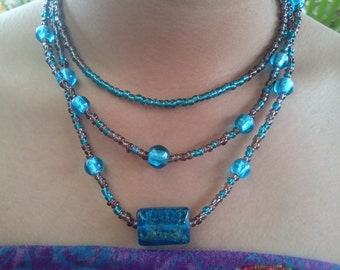 3 Strand Glass Bead Necklace