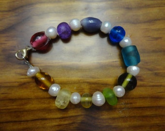 Beaded Rainbow and Faux Pearl Bracelet